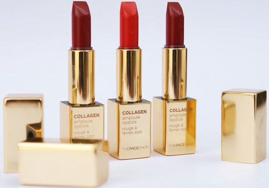 Son The Face Shop Collagen Ampoule Lipstick - Son dưỡng có màu mềm mượt!