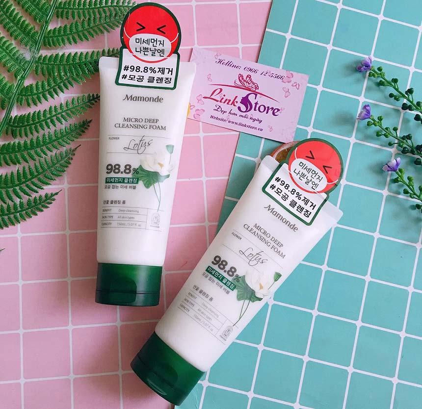 Sữa rửa mặt hoa sen Mamonde Lotus Micro Deep Cleansing Foam - Làm sạch sâu, dưỡng da hiệu quả...