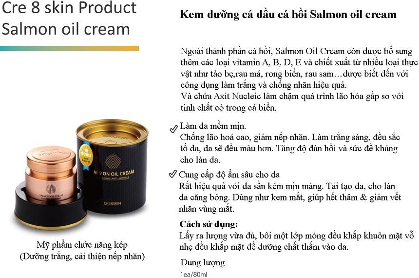 Kem dưỡng chiết xuất dầu cá hồi Salmon Oil Cream Cre8skin