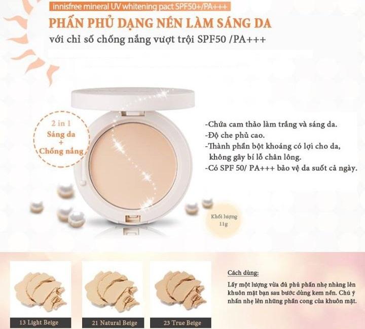 Phấn nén làm sáng da Innisfree Mineral UV Whitening Pact SPF50+ PA+++