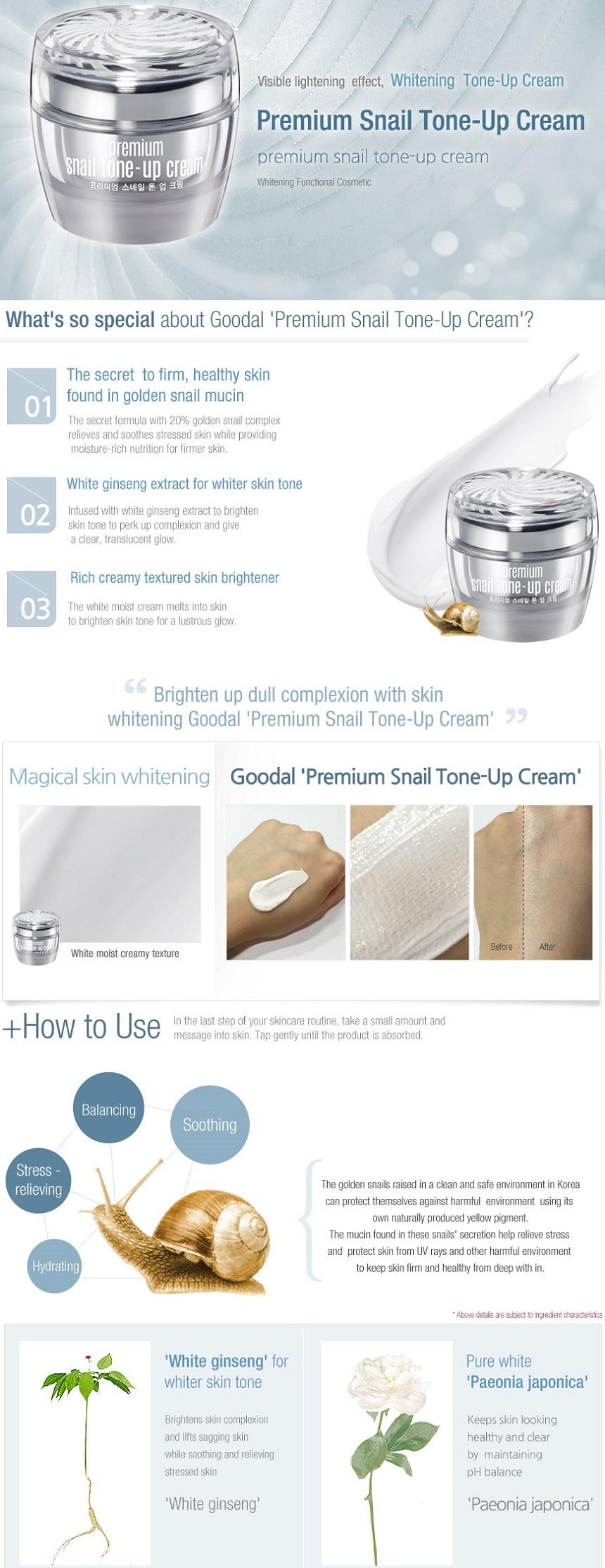Set kem dưỡng trắng da ốc sên Goodal Premium Snail Tone Up Cream