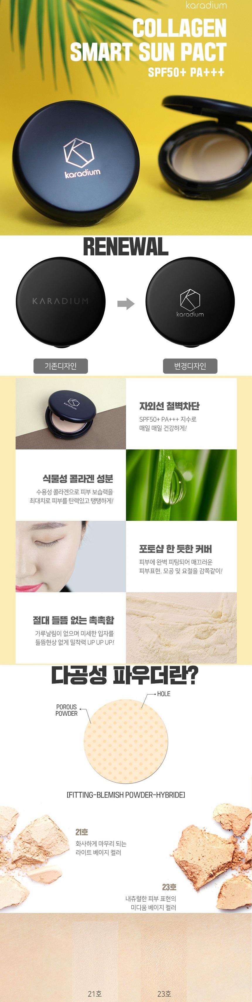 Phấn phủ Karadium Collagen Smart Sun Pact SPF50+ PA+++