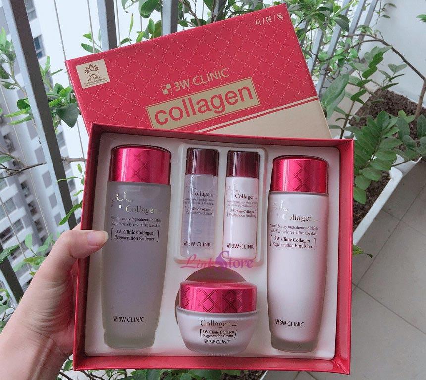 Bộ dưỡng da 3W Clinic Collagen Regeneration 5 sản phẩm - Chống lão hóa, giúp da săn chắc, khỏe mạnh...