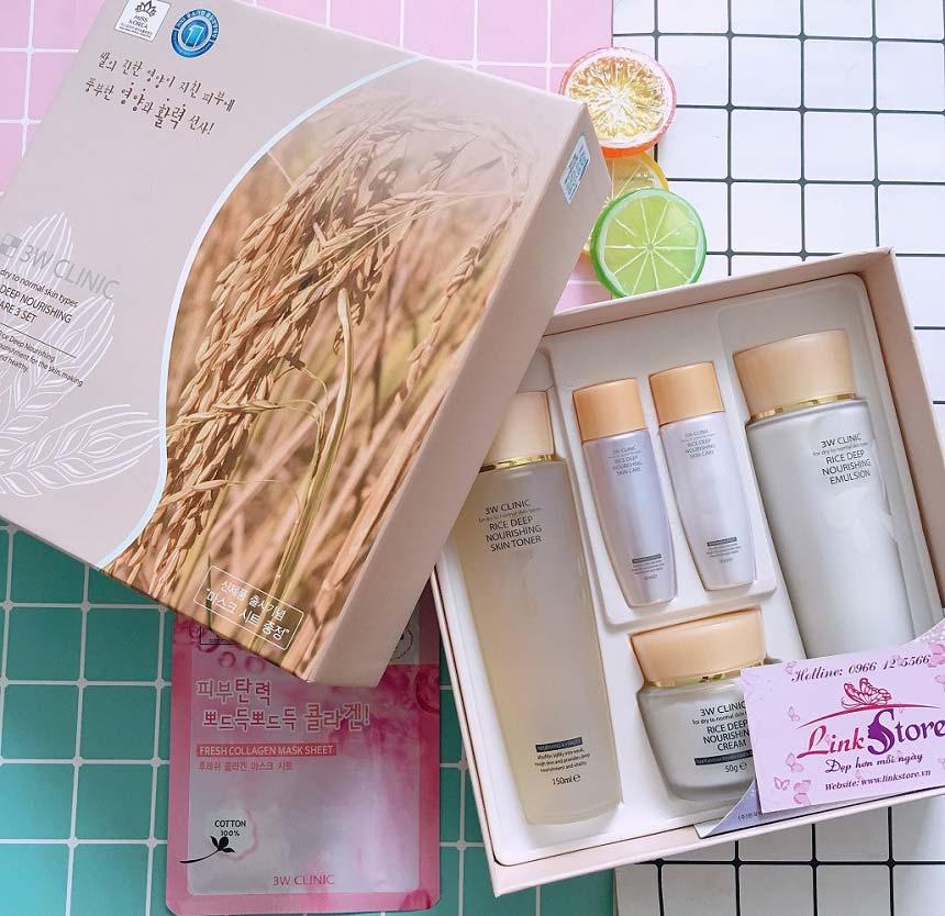 Bộ dưỡng gạo 3W Clinic Rice Deep Nourishing Skin Care 3 Set – Dưỡng ẩm, giúp da mềm mại, trắng sáng