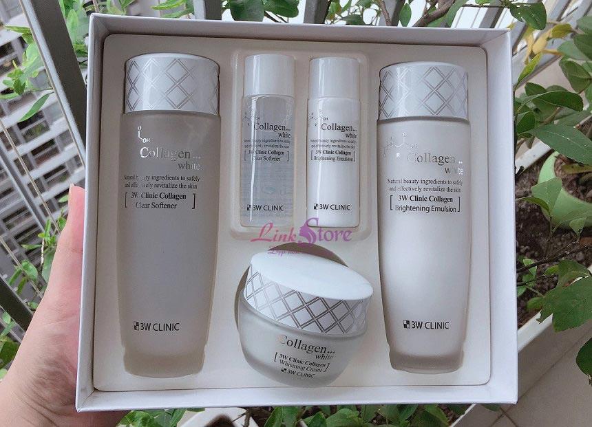 Bộ dưỡng trắng da 3W Clinic Collagen White 5 sản phẩm - Dưỡng trắng, dưỡng ẩm, giúp da mềm mại...