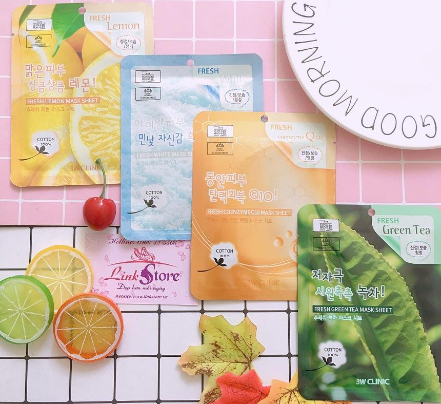 Mặt nạ dưỡng da 3W Clinic Fresh Mask Sheet - Chiết xuất 100% từ các thành phần trái cây và rau quả tự nhiên nên thích hợp với tất cả loại da, kể cả da nhạy cảm.
