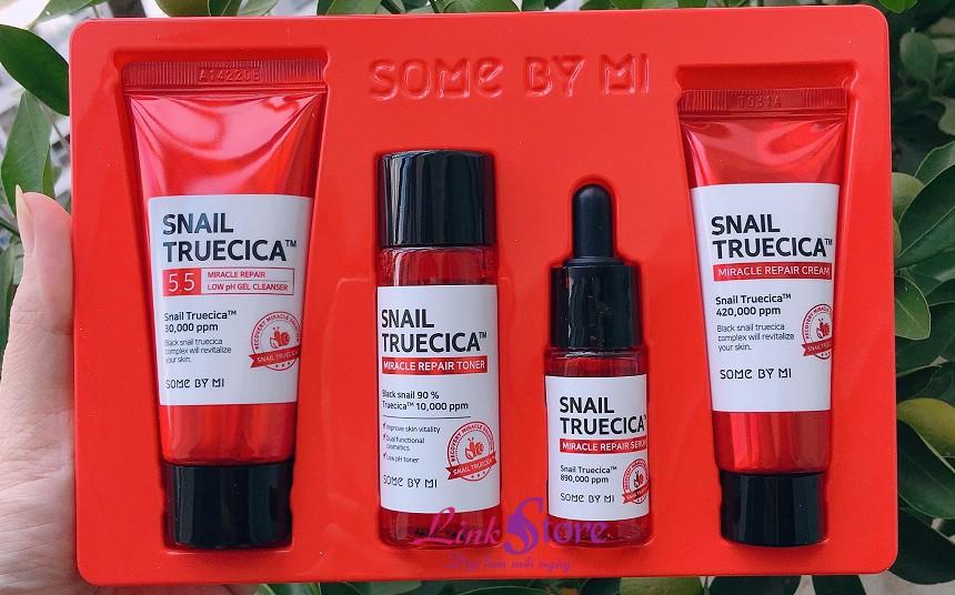 Bộ dưỡng Some By Mi Snail Truecica Miracle Repair Starter Kit - Bộ dưỡng 4 sản phẩm chiết xuất dịch nhầy ốc sên đen...