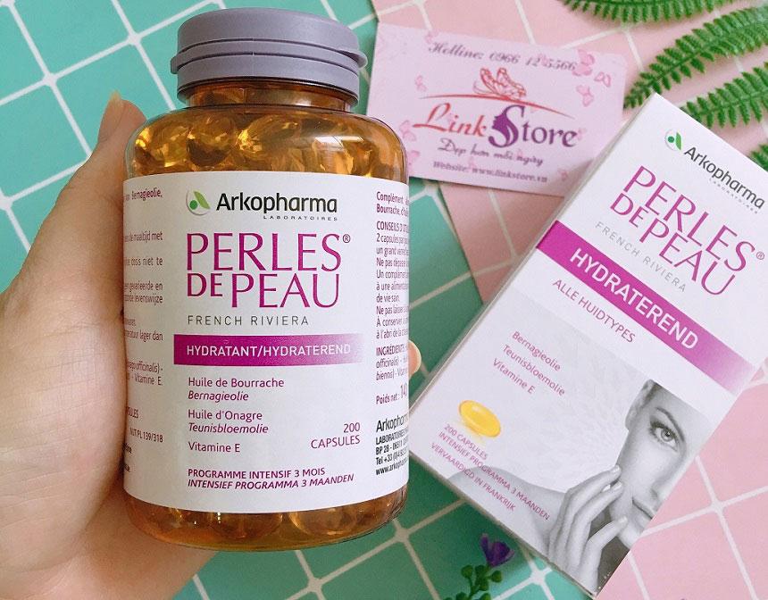 Viên uống đẹp da Perles De Peau Hydratant Arkopharma - Giúp dưỡng da sáng khỏe, căng mịn, luôn tươi trẻ...