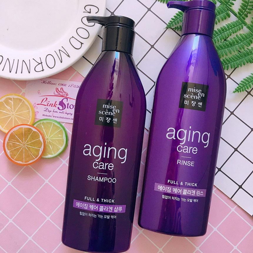 Bộ gội xả Mise En Scene Aging Care Full & Thick (màu tím) - Phục hồi tóc hưu tổn, ngăn rụng tóc...