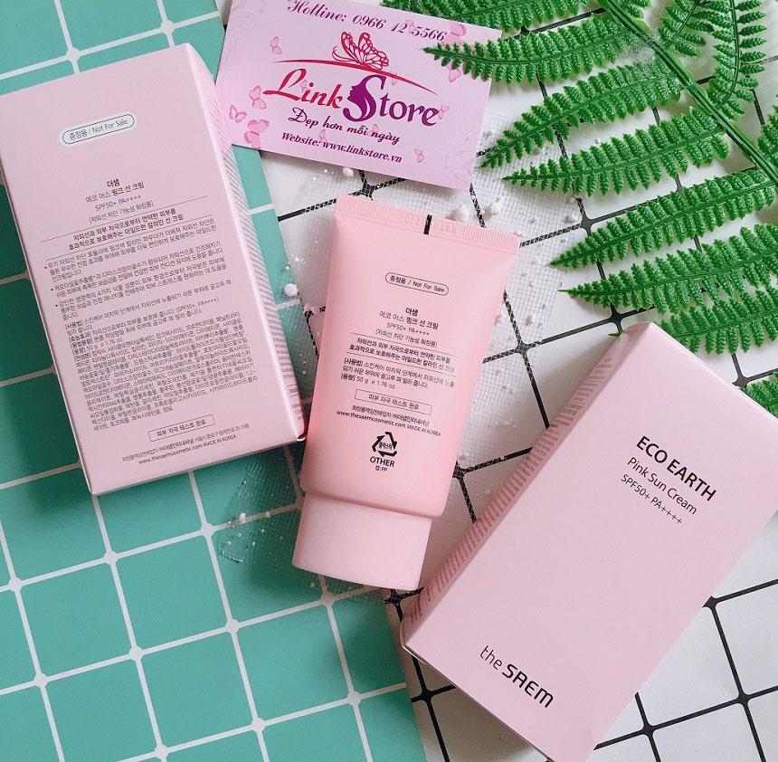 Kem chống nắng The Saem Eco Earth Pink Sun Cream SPF50+ PA++++ - Dịu nhẹ, bảo vệ da bạn cả ngày dài khỏi nắng...
