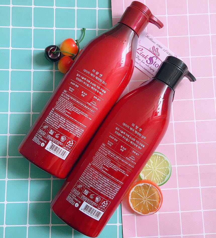 Bộ gội xả Mise En Scene Damage Care Sleek & Smooth màu đỏ - Phục hồi tóc hư tổn, giúp tóc suôn mượt...