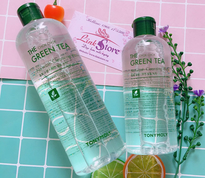 Tẩy trang Tonymoly The Chok Chok Green Tea No-Wash Cleansing Water