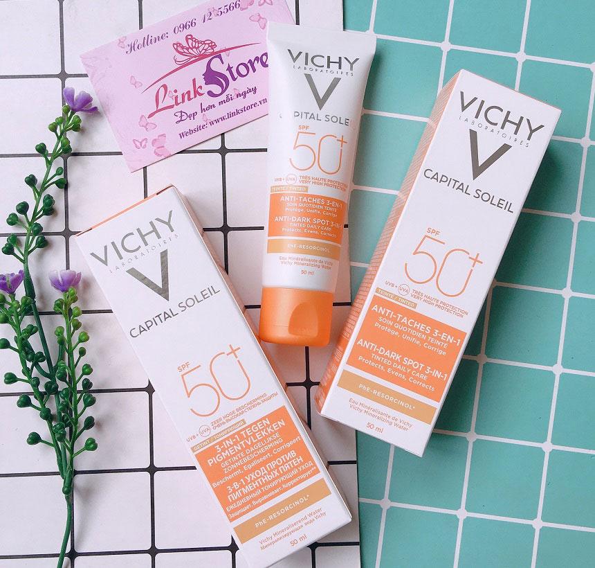 Kem chống nắng Vichy Ideal Soleil Anti Dark Spots 3in1 SPF50+ - Kem chống nắng ngăn ngừa sạm da, chống lão hóa...