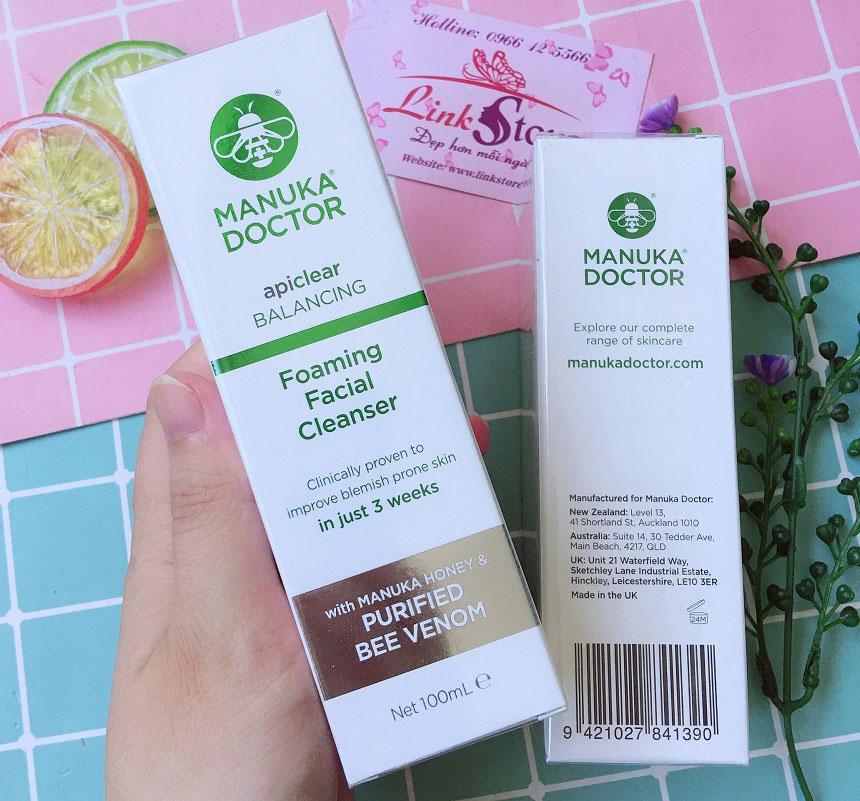 Sữa rửa mặt Manuka Doctor Apiclear Balancing Foaming Facial Cleanser - Làm sạch sâu, trị mụn, kháng viêm...