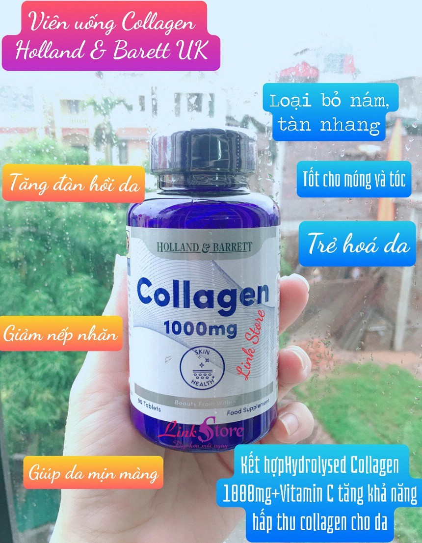 Viên uống Holland & Barrett Collagen 1000mg